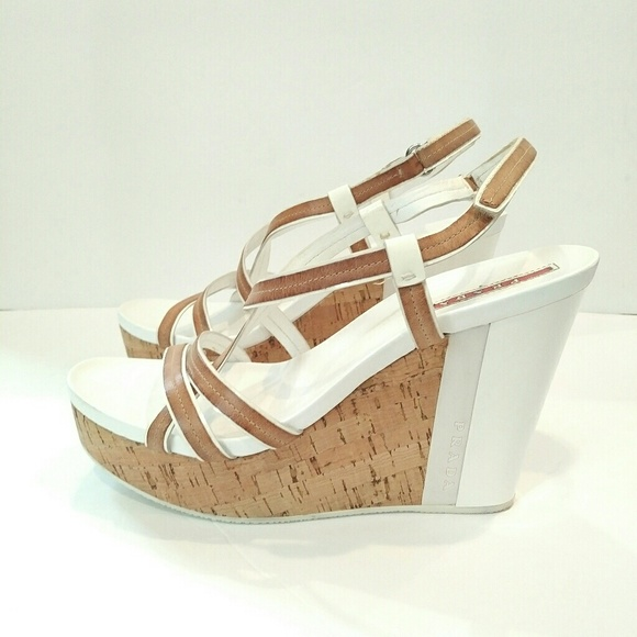 e73e6a7193f Prada white tan cork platform wedge sandals